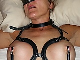 Nipple Clamps: Bound and nipples clamped very hard