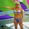 Lin on beach: Lin in blue bikini