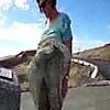 Rita upskirt no panties: Rita lets the wind lift h…